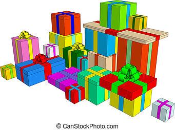 Presents illustration - Clip-art element: present boxes