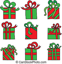 Presents - Illustration of nine presents in green and red - ...