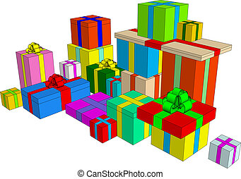 Presents illustration - Clip-art element: present boxes