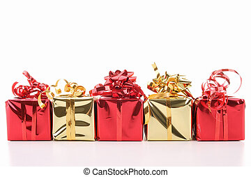 presents on white background