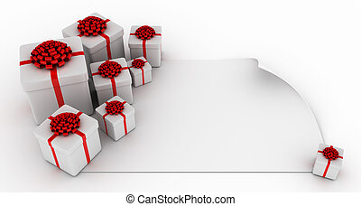 Presents over blank white paper