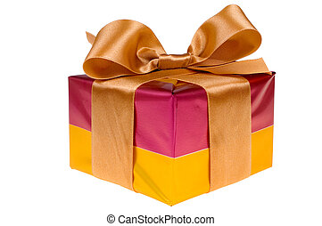 Presents with gold ribbon isolated on white background -...