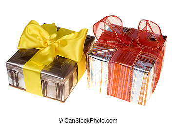 Presents with red ribbon isolated on white background