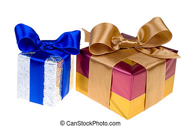 Presents with ribbon isolated on white background