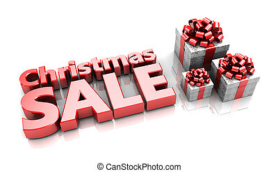 Christmas sale - Presents with text Christmas sale, 3d image