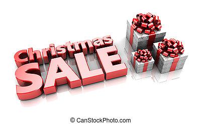 Christmas sale - Presents with text Christmas sale, 3d image