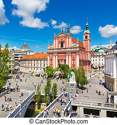 Preseren square, Ljubljana, capital of Slovenia.