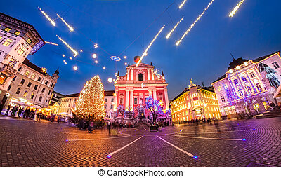 preseren's, 広場, スロベニア, ljubljana, europe.