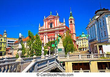 presern, ljubljana, 広場, riverfront, 光景