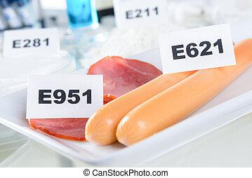 E951 Aspartame ASM. E621 Monosodium glutamate MSG, additives to food.