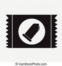 preservativo, pacote, ícone, proteção, sinal