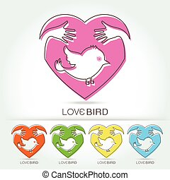 preserve bird with hug in heart symbol