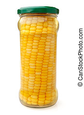 Preserved corn ear in glass jar