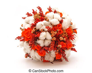 Preserved flowers and cotton wedding bouquet on white...