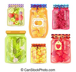Preserved Food Homemade Jars Vector Illustration