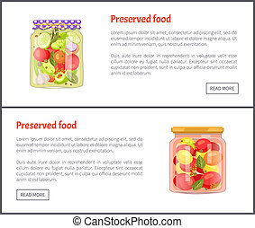 Preserved Food in Glass Jars Set Vector Icons - Preserved...