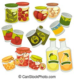 Preserved food in jars and bottles collection on white
