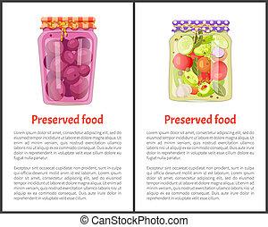 Preserved Food Meal Posters Vector Illustration - Preserved...