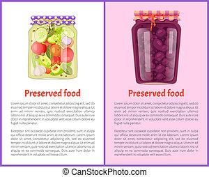 Preserved Food Pickles Vector Illustration - Preserved food...