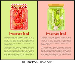 Preserved Food Poster Pickled Chilli and Cucumbers -...