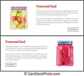 Preserved Food Posters Set Vector Illustration - Preserved...