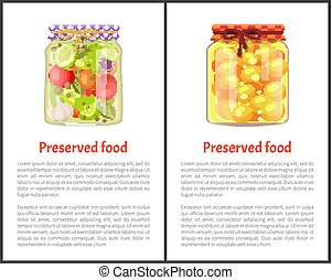 Preserved Food Posters with Fruits or Vegetables - Preserved...