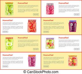 Preserved Food Set of Posters Vector Illustration -...