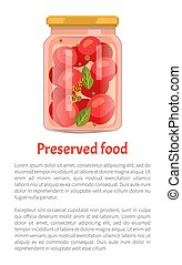 Preserved Food Tomatoes Vector Illustration - Preserved food...
