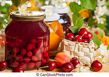 Preserved fruit and berries - Jars of homemade fruit ...