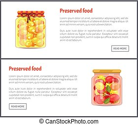 Preserved Fruit and Vegetables Set Vector Icons - Preserved...
