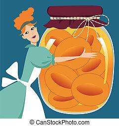 Preserved peaches - Cute cartoon woman holding a giant mason...