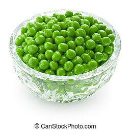 Preserved peas in crystal bowl