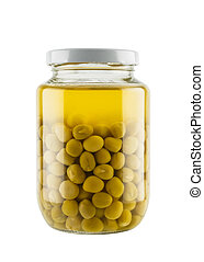 Preserved peas in glass jar isolated on white background