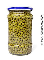 Preserved peas in glass jar