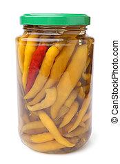 Preserved pepper in glass jar