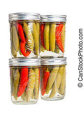 Preserved peppers in mason jars