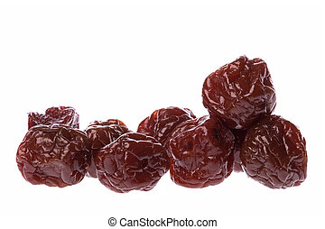 Preserved Sweetened Plums - Isolated macro image of...