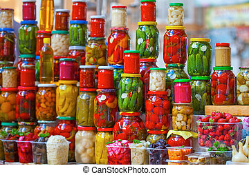 Preserved vegetables in glass jars