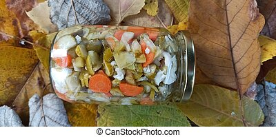 Preserved vegetables on autumn leaves background
