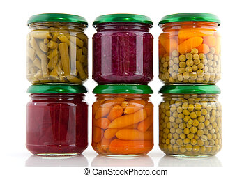 Preserved vegetables in glass