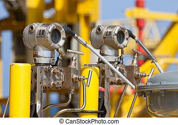 presión, transmisor, gas, aceite