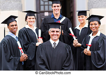 preside, standing, con, gruppo, di, laureati