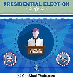 presidencial, eleição, debates, elefante, contra, burro