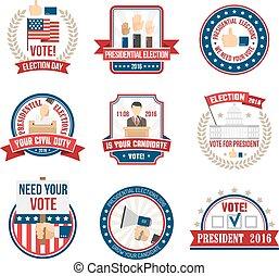 presidencial, eleição, etiquetas