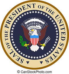 presidencial, selo, em, cor