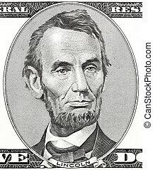 president, abraham lincoln, als, hij, blik, op, vijf dollars...