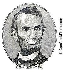 president, abraham lincoln, som, han, ser, på, fem dollar,...