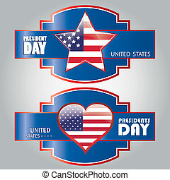 president day - a pair of blue icons with some text and the...