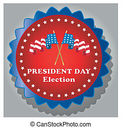 president day - a colored round icon with a pair of flags...