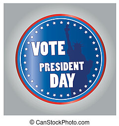 president day - a colored round icon with text and a liberty...